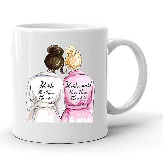 Will You Be My Bridesmaid ? Custom World's Best Maid Of Honor Coffee Mug, Bride and Bridesmaid 11 oz White Ceramic Tea Cup, BFF Best Friend Wedding Gift, Pretty Fun Bestie Mug, Cute Engagement Gift