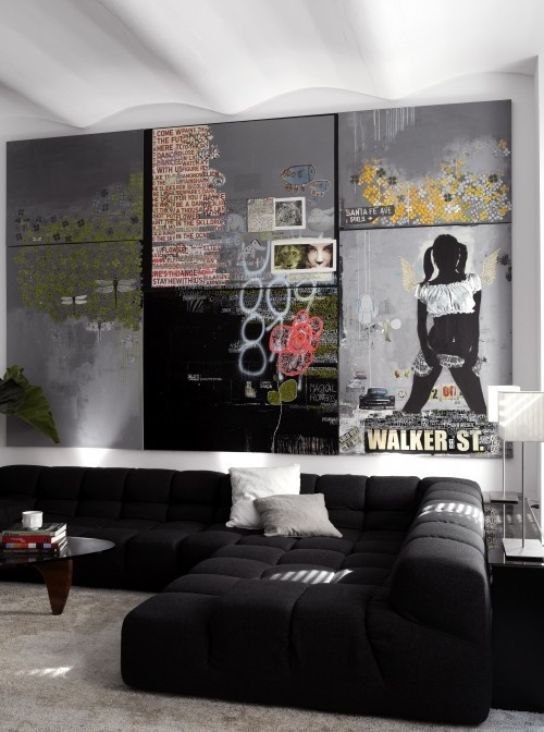 Decorating Ideas Modern Living Room Design With Balck Upholstered Sectional Sofa And Graffiti Inspired Art Decor Wall Interior