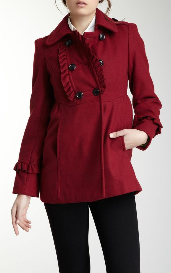 Ruffle Front Double Breasted Peacoat
