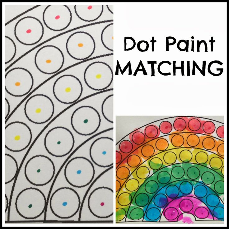 Classroom Theme Ideas For Toddlers ~ Toddler dot paint activity rainbow theme preschool