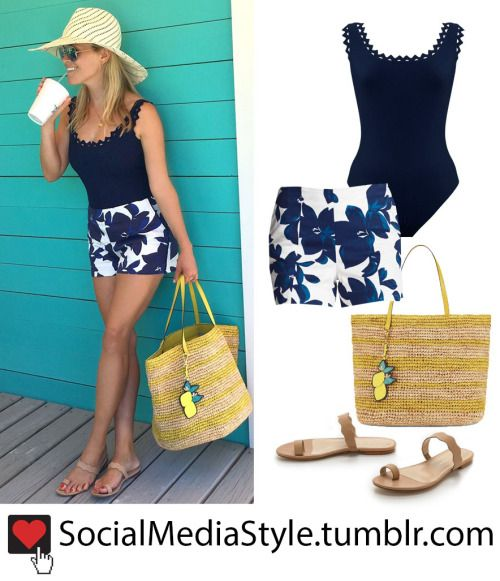 Buy Reese Witherspoon's Navy Cutout Trim Swimsuit, Floral Print Shorts, Straw Bag, and Nude Toe Ring Sandals, here!