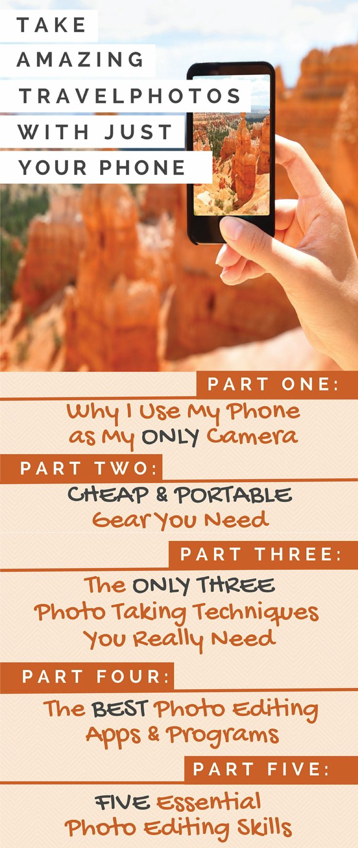 I have used an iPhone as my sole camera for all of my photography during my travels to 20+ countries. I literally have taken THOUSANDS of photos with my phone on my travels around the world. I have created this 5-part guide to taking amazing travel photos with your phone, sharing strategies developed from my extensive personal experience and plenty of trial and error!