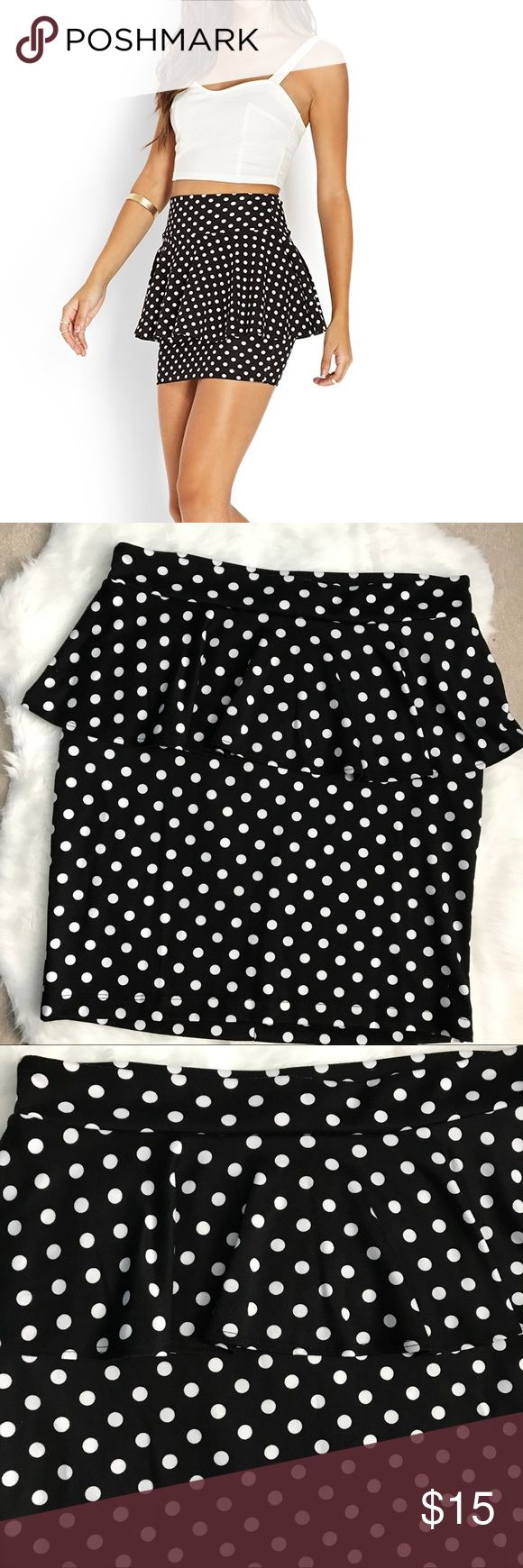 Polka dot peplum skirt *Pre loved, only worn once or twice  *Black with white polka dots peplum skirt  *Slip on style  *Materials: 95% polyester, 5% spandex Dots Skirts