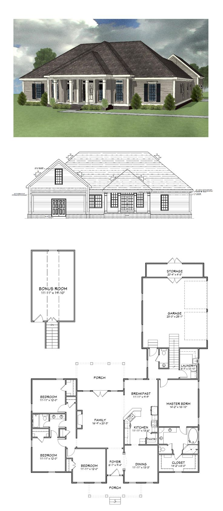 Plan sc 2270 770 4 bedroom 2 5 bath home with 2270 for 4 bedroom house plans with bonus room
