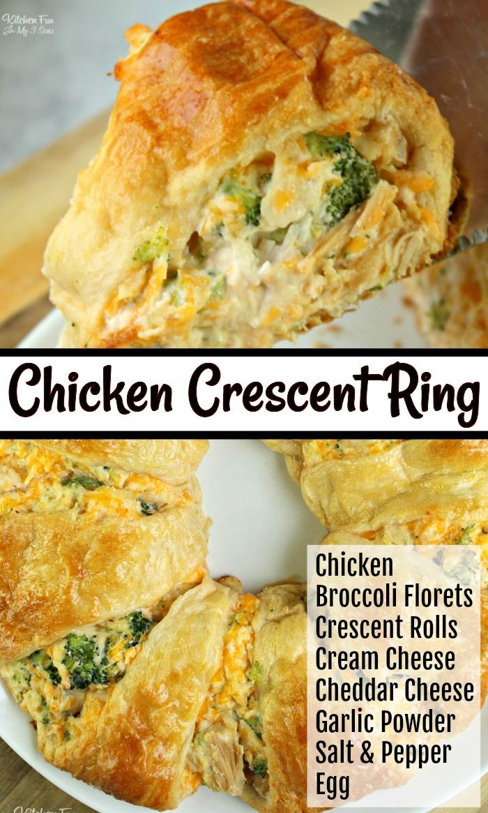 A Chicken And Broccoli Crescent Roll Ring with broccoli florets and cheddar cheese is the perfect weeknig…   Crescent recipes, Crescent roll recipes dinner, Recipes
