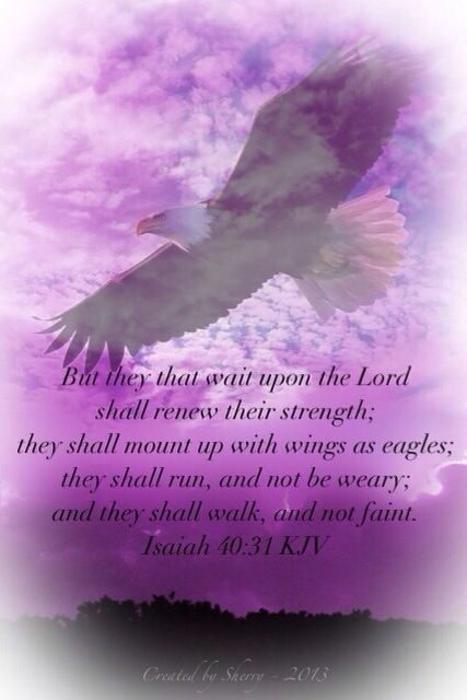 But they that wait upon the Lord shall renew their strength; they shall mount up with wings as eagles; they shall run, and not be weary; and they shall walk, and not faint. (Isaiah 40:31 KJV)