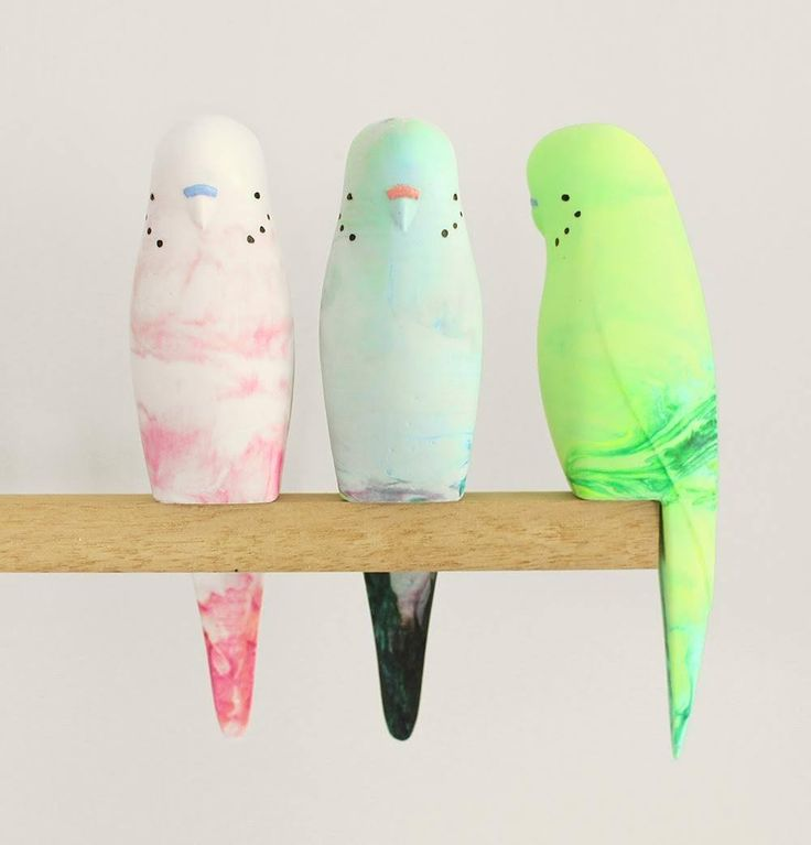 Pete Cromer resin budgies are now in store and online. Get in quickly as these guys will 'fly' out the door. #petecromer #koskela #resin #art