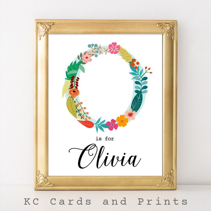 Olivia Floral Monogram Name Art Printable
