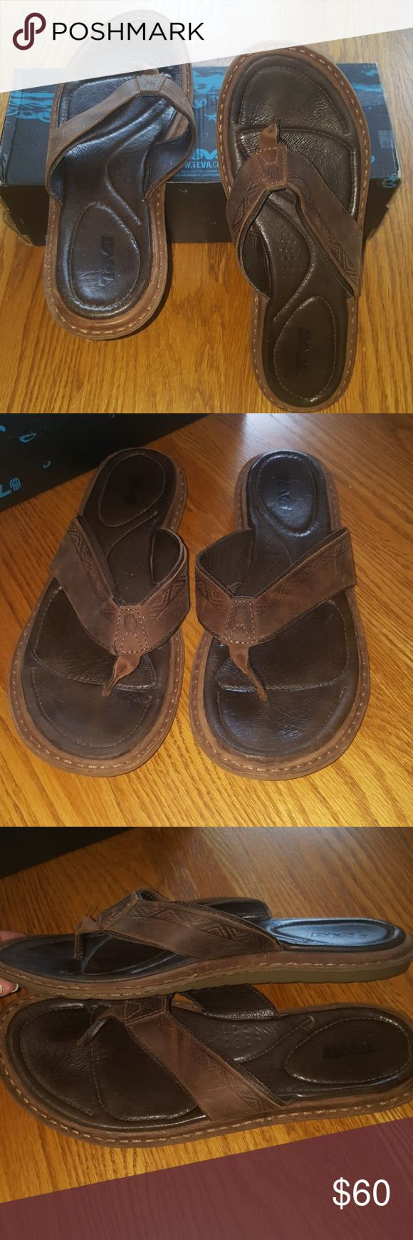 MEN'S TEVA SANDALS Teva Mens Benson ~ Brown Leather ~                           Purchased for my husband, wrong size ~                     These are brand new, in original box ~ Teva Shoes Sandals & Flip-Flops