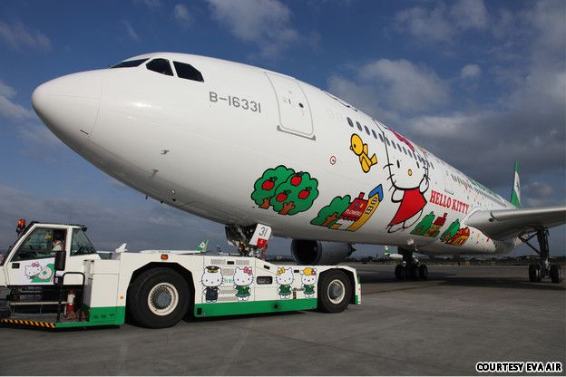 The Hello Kitty jet.  http://www.cnngo.com/explorations/life/eva-air-does-its-best-new-hello-kitty-jets-623405?hpt=hp_bn7