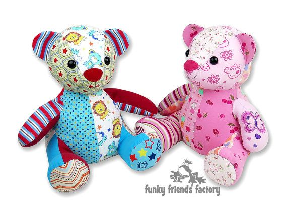 Melody MEMORY BEAR Keepsake Toy Sewing Pattern PDF INSTANT DOWNLOAD   ***You will be able to download your pattern from your Etsy Account when your payment has cleared.***   FINISHED BEAR SIZE: 31cm (12inches) from table to top of headl!  Make a 'patchwork' bear as a special memento to cherish as a reminder of your baby's first years, to mark a special occasion or in memory of a special loved one. Melody is an easy teddy bear pattern without joints. A great way to transform your child's…