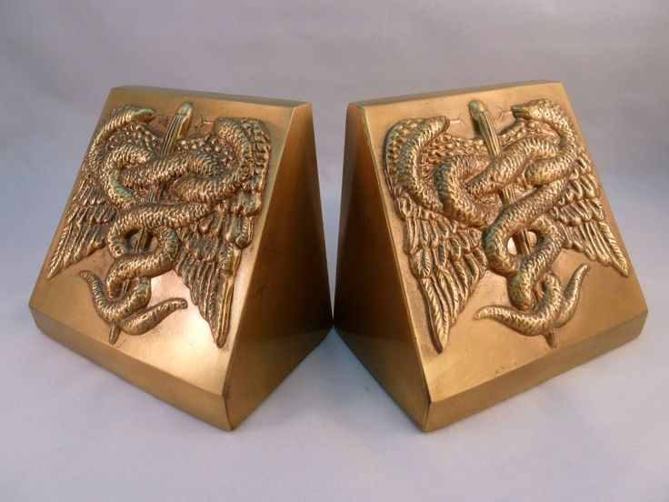 Vintage PM Craftsman Bookends Caduceus Staff of Hermes Medical Doctor Made in USA