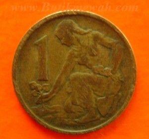 1 Koruna coin from Czechoslovakia year 1962