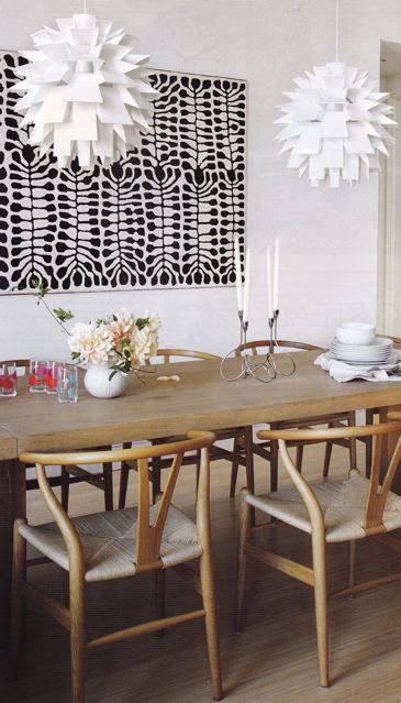 Mitjili Napurrula Aboriginal artwork, Artichoke lamps, and Wegner Wishbone chairs