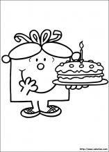 coloriage du gâteau d'anniversaire de Madame Anniversaire
