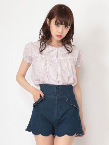 Ank Rouge 裾スカラップハイウエストショートパンツ