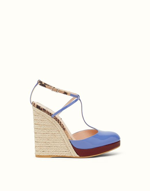 FENDI | WEDGE-HEEL SANDALS in purple patent leather with rope wedge and platform sole