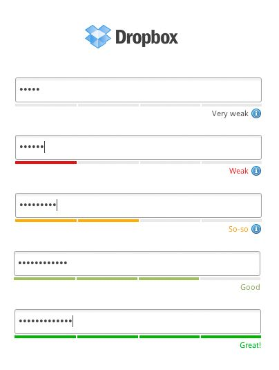 Dropbox - Password strength is indicated by colored bars underneath the input field. /via rammionline