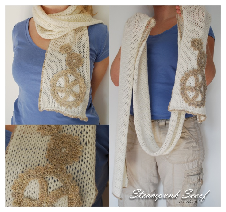 Patterns For Knitted Dog Coats : Steampunk scarf with knitted cogs http://fc09.deviantart.net/fs71/f/2011/228/...