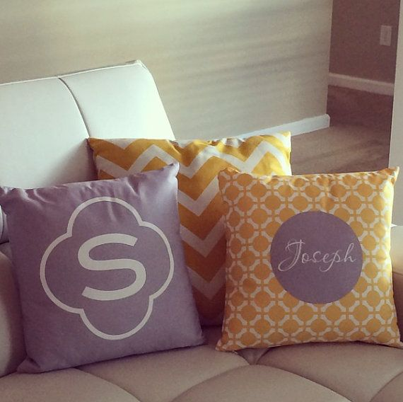 16 x 16 Clover/ Monogram Pillow Cover with Insert by LoveyDoveyCreations