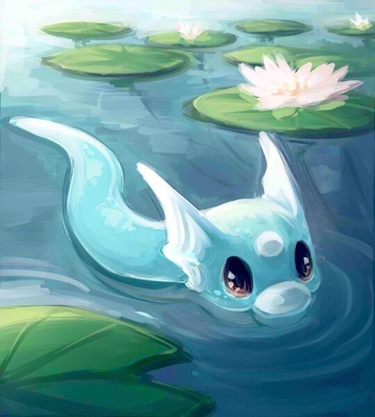 Dratini in the pond.