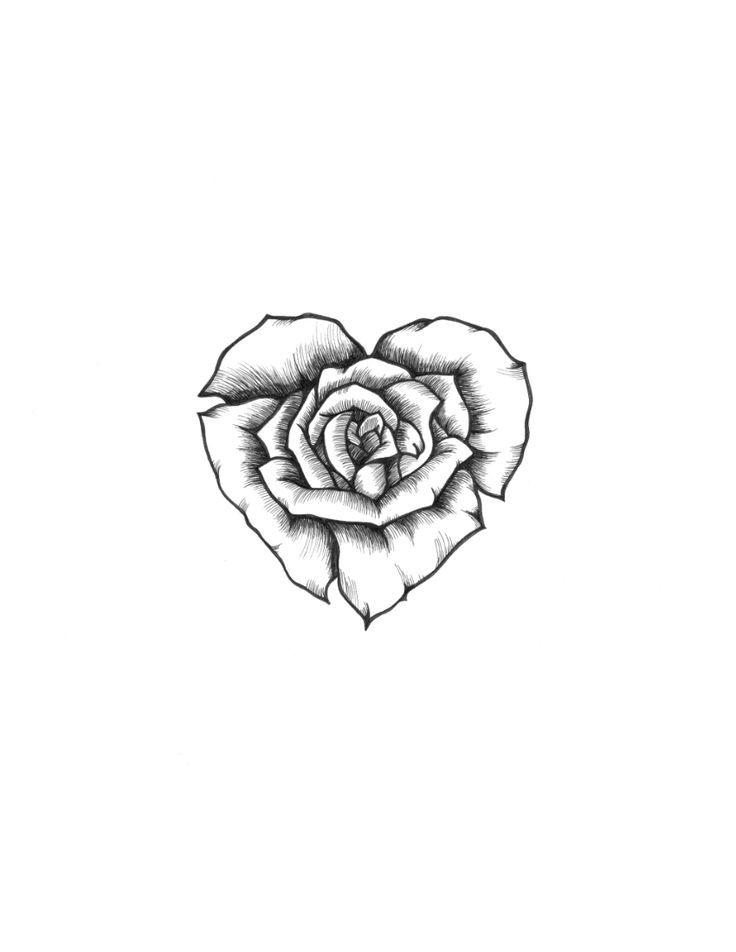Heart Rose Drawing : heart, drawing, Heart, Sketch, #heart, #ROSE, #sketch, Tattoo,, Drawing, Sketches