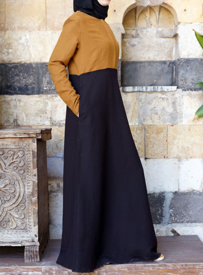 SHUKR USA | Zipped Color Block Abaya ~ linen blend, other colors look nicer than this black/ mustard version :-(