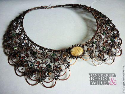 Колье, бусы ручной работы. Колье воротник. Jana Kriger Beads & Wire. Интернет-магазин Ярмарка Мастеров. воротник
