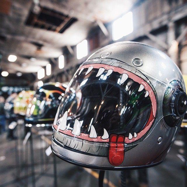 """""""My fav Bell Bullitt helmet art by @blackwidowairbrushing at the @the1moto show. #Bullitt #the1moto """""""