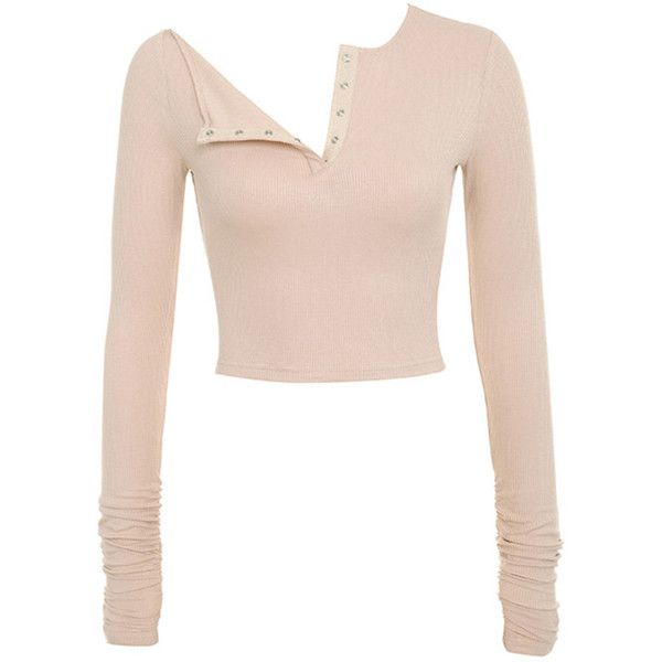 'Sweet Lust' Nude Ribbed Jersey Cropped Top - Mistress Rocks ($51) ❤ liked on Polyvore featuring tops, crop top, henley top, jersey top, rock tops, pink top and jersey crop top