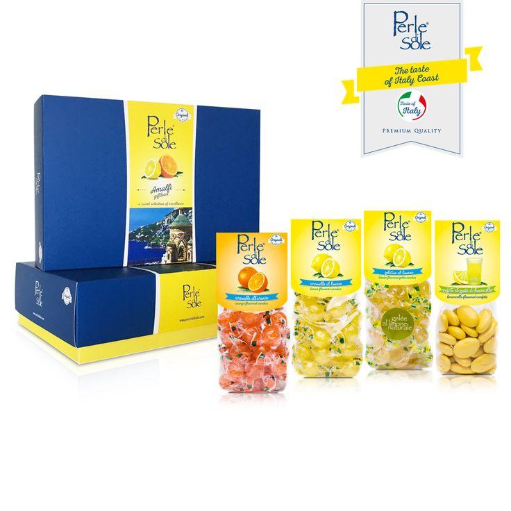 """Perle di Sole presenta la nuovissima """"AMALFI GIFT BOX"""". Il meglio del sole del Mediterraneo racchiuso in una preziosa scatola da conservare. Scegli il Made in Italy, scegli Perle di Sole le Originali! #PERLEDISOLE http://www.perledisole.com/prod…/new-gift-box-amalfi-750-gr/"""