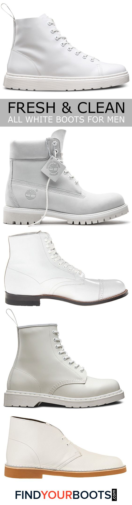 5 Stylish All White Boots for Men - White boots are not only a bold fashion statement but a smart alternative to white sneakers during inclement weather. Here we review our favorite all white boots for men that are available right now.