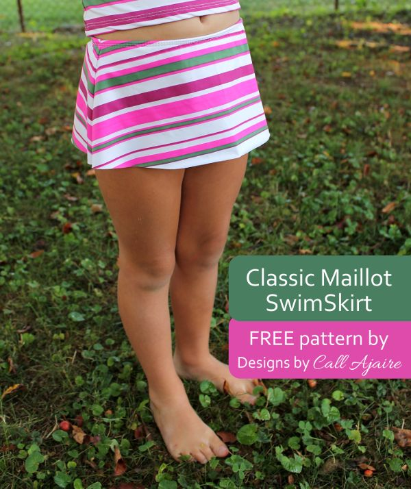 A FREE SwimSkirt pattern as a part of Skirting the Issue. #classicmaillotswimskirt