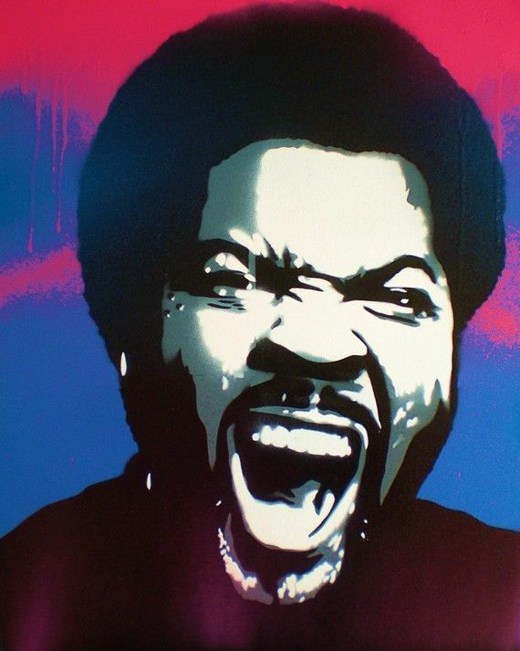 painting of ice cube on canvasstencils & by AbstractGraffitiShop