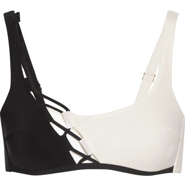 Agent Provocateur Jojo lace-up tulle-trimmed bikini top (£125) ❤ liked on Polyvore featuring swimwear, bikinis, bikini tops, bikini, sporty bikinis, bikini swimwear, black and white bikini, sporty bikini tops and tankini tops