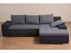 Canapé d'angle convertible et réversible 5 places BELLA coloris gris clair et gris foncé - Vente de Canapé d'angle - Conforama