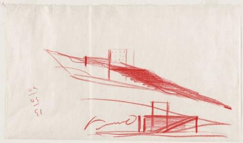 Tadao Ando. Chikatsu-Asuka Historical Museum, Minami-Kawachi, Osaka, Japan, Perspective sketch. 1991