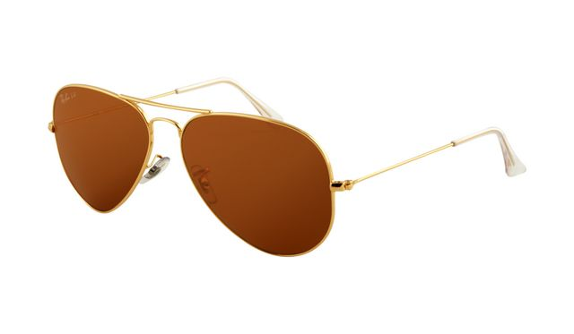 Ray Ban RB3025 Aviator Sunglasses Gold Frame Deep Brown Polarize