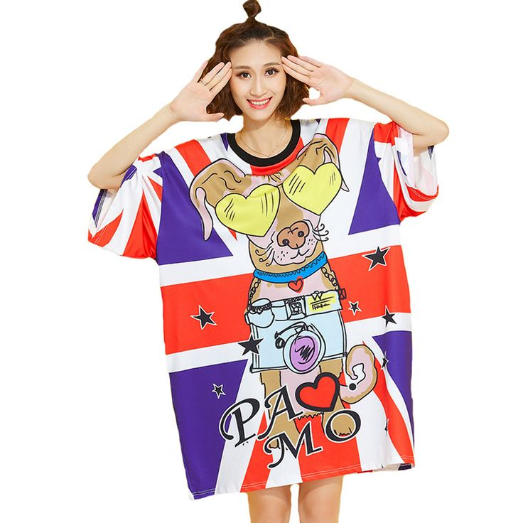 2016 Spring Autumn Plus Size Tops Tees Women Summer Animal Print T Shirt Dress 3/4 Sleeve Casual Loose Oversize TShirt Blusa