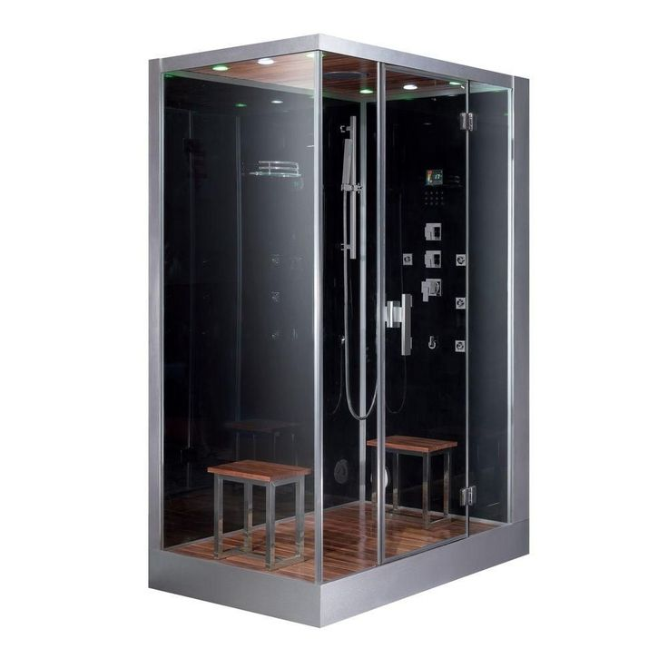 Ariel 59 in. x 35.4 in. x 89.2 in. Steam Shower Enclosure Kit in Black