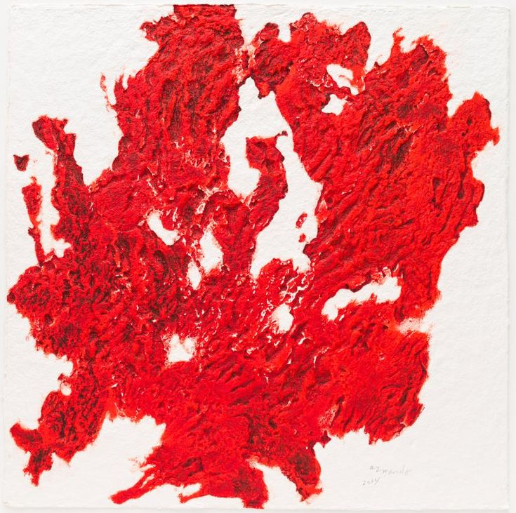 Armando, Innenstadt (rot), 2014, materiedruk met carborundum op handgeschept Atelier Mas de Flors papier, 100 x 100 cm, oplage: 10 ex. #art #kunst #Armando #Maastricht