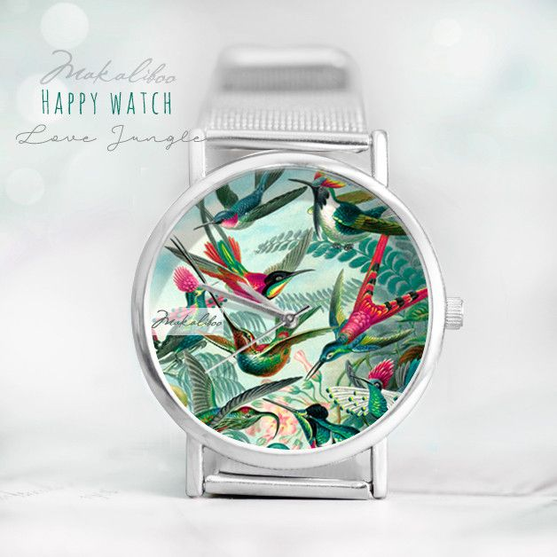 """Niepowtarzalny, autorski zegarek z limitowanej kolekcji """"Happy Watch"""".  Koperta zegarka oraz zapięcie sygnowane jest naszym logiem Makaliboo. Wielkość tarczy zegarka 38 mm, szerokość paseczka 20..."""