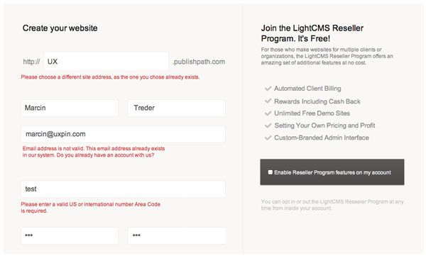 Light CMS Form Validation Wireframing Template