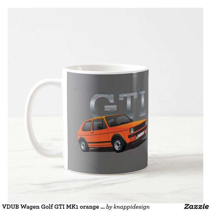 VDUB Wagen Golf GTI MK1 orange diy mug. Two images per mug. Customizable! Check out other color options too!  #volkswagen #volkswagengolf #vwgold #vdub #goldmk1 #golfgti #classiccars #hothatch #80s #1980s #gti #vwgolfgti #sportscar #coffeemug #kaffemuggar #mukit #mugg #carillustration #auto #automobile