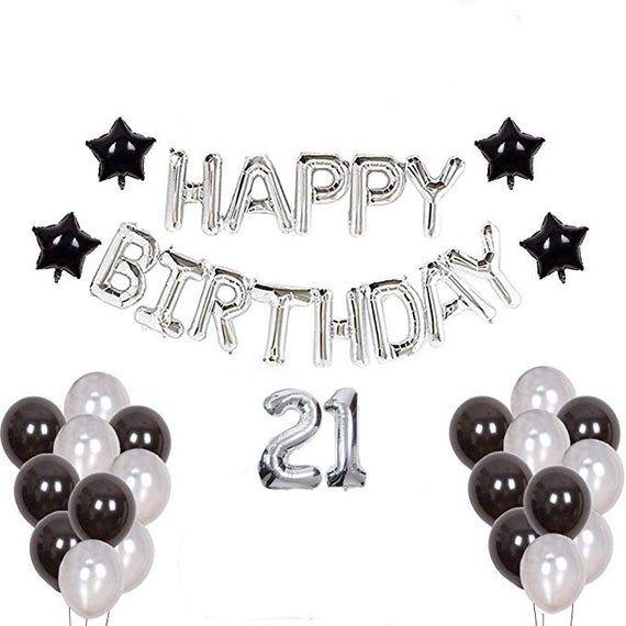 21st Birthday Decorations For Him 21st Black Theme 21 Etsy In 2021 Boyfriends 21st Birthday 21st Birthday Decorations Birthday Party 21