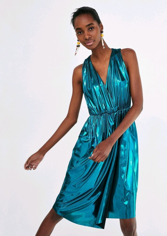 597c7f9e411 ZARA BNWT METALLIC BLUE TURQUOISE SHIMMER DRESS MIDI WRAP SIZE XS 8 SOLD  OUT  fashion  clothing  shoes  accessories  womensclothing  dresses (ebay  link)