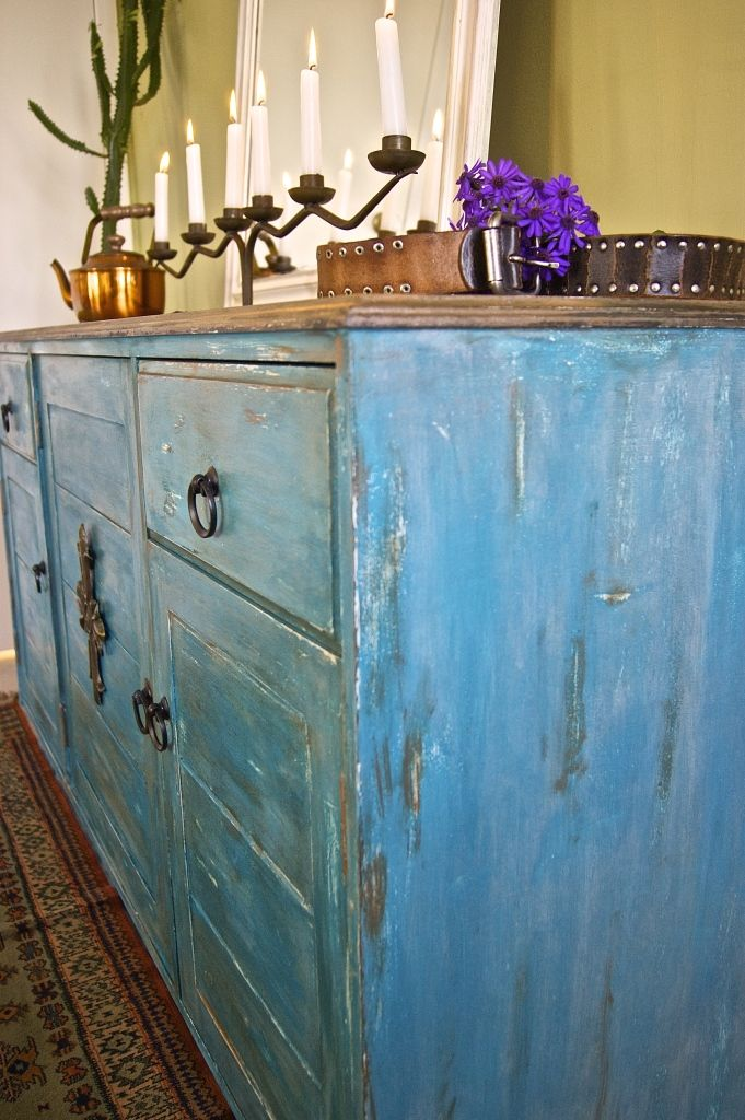Turquoise Blue Western Style Buffet Sideboard Revival At