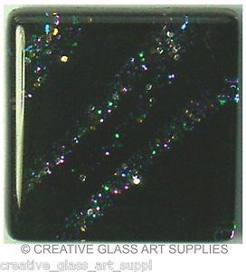 20 - 3/4 inch BLACK GALAXY GLITTER Glass Mosaic Tiles
