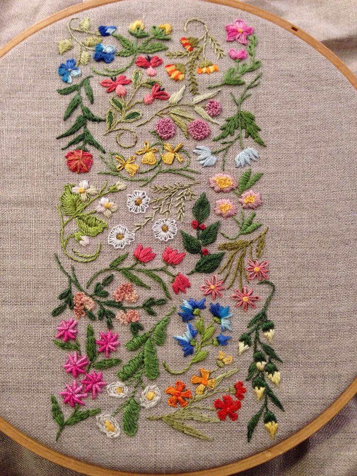 Progress 21 straight stitch, stem stitch and long and short stitch.