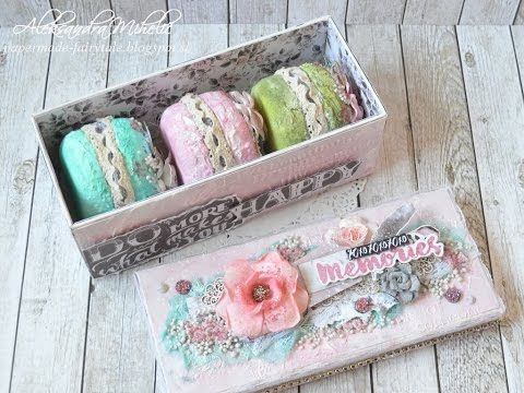 Macaron mini album in box with Prima marketing-this project is stunning! See how she created them in this tutorial #altered #colorwithprima